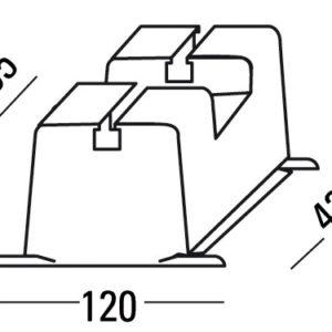 Klímatartó műanyag lapostetőre 120x72x420 (krémszínű)